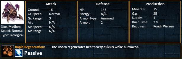 Starcraft 2 Roaches statistics SC2 roach unit stats